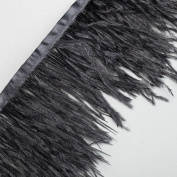 Neotrims Luxurious High Fashion Real Ostrich Feather Quality Fur Satin Ribbon Trimming Fringe 10-12 cm. Two Stunning Colours