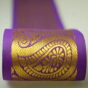 Neotrims 9cms Wide Indian Paisley Salwar Kameez and Saree Trimming Ribbon By The Yard, Great Price Limited Edition Stunning Decorative Border, Non Repeatable, Great Value. Turquoise Blue & Purple with Metallic Gold Jacquard; Beautiful.