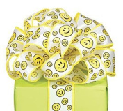 Smiley/Happy Face # 9 Wired Satin Fabric Ribbon For Crafts, Sewing, And More
