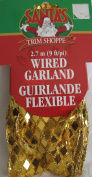 Santa's Trim Shoppe WIRED GARLAND Ribbon 9 FEET Long x 6.4cm Wide SHIMMERING GOLD Tones DIAMOND Shapes w WIRE EDGES