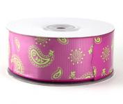 Ribbon Paisley Pink & Lime 3.8cm x 25y