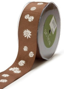 May Arts 3.8cm Wide Ribbon, Brown Grosgrain Daisies