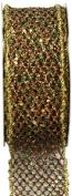 Kel-Toy Metallic Glitter Mesh Net Ribbon, 3.8cm by 10-Yard, Gold/Green/Red