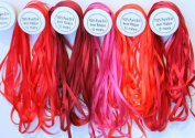 New Threadsrus 5 Spools of 100% Pure Silk Ribbons - 4mm x 10 Metres - Red Shades