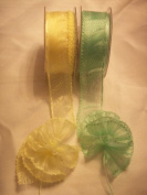 Organza Sheer Pull Bow Ribbon Ruffle Type with Iridescent Edge 3.8cm Wide 25 Yards Light Green