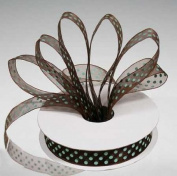 2 Spools - 1.6cm Chocolate Sheer Ribbon with Light Blue Polka Dots - 25 Yards