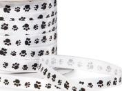 Single Faced Satin Paw Print Ribbon 0.6cm White with Black Paw Print - 50 Yard Roll