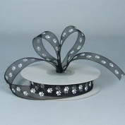 Sheer Black Organza Ribbon with White Paw Prints 1.6cm X 25 Yds Spool
