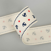 Neotrims Nautical Anchor Stars Grosgrain Petersham Ribbon 16, 25, 38mm by metre. Anchor and Stars Print Grosgrain Ruban Trim; Beautifully Soft Polyester Petersham Ribbon in 3 Widths, 16mm, 25mm and 38mm, Sold as a Set Of all 3 sizes, 3mts of each Size ..