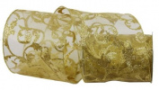 Renaissance 2000 Ribbon, 10cm , Gold Sheer with Gold Glitter Design