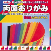 Toyo Origami Paper Double-sided Colour, 12 Colours, 35 Sheets
