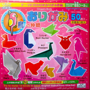 Bird Theme Japanese Origami Paper w/ Instructions & Eye Stickers 50 Sheets 32 Colours