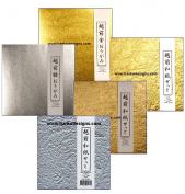 Hanko Designs-Echizen Gold & Silver, Momi Washi Gold / Silver / Champagne Gold-(6x6) - 50 Sheets