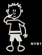 My Family Car Stick Figure Sticker Decal Young Boy Picks his nose YB1