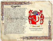 Rogalski Coat of Arms/ Family Crest on Fine Paper and Family History.