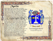 Martin Coat of Arms/ Family Crest on Fine Paper and Family History.