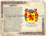 Roberts Coat of Arms/ Family Crest on Fine Paper and Family History.