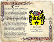 Dykes Coat of Arms/ Family Crest on Fine Paper and Family History.