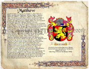 Matthew Coat of Arms/ Family Crest on Fine Paper and Family History.