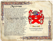 Mccowan Coat of Arms/ Family Crest on Fine Paper and Family History.