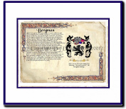 Bergman Coat of Arms/ Family History Wood Framed
