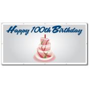 Happy 100th Birthday Cake - 4' x 8' Vinyl Banner