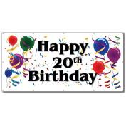 Happy 20th Birthday - 4' x 8' Vinyl Banner