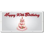 Happy 90th Birthday Cake - 4' x 8' Vinyl Banner