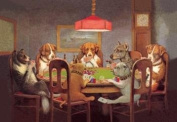 Passing the Ace Under the Table (Dog Poker) 12x18 Giclee on canvas