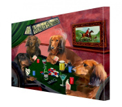 House of Dachshund Dogs Playing Poker Canvas 16 x 20