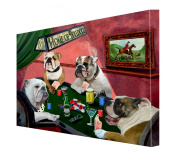 House of Bulldogs Dogs Playing Poker Canvas 16 x 20