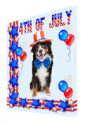 Bernese Mountain Dog Canvas 18 x 24 Patriotic