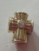 Pandora Style Gold Plated Cross Charm with Clear Rhinestone