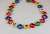 Multicolor Howlite turquoise flower beads, 20x20mm, sold per 16inch strand.