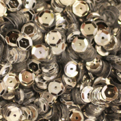 6mm CUP SEQUINS Silver Loose sequins for embroidery, applique, knitting, arts, crafts, and embellishment.