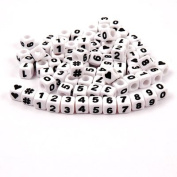 JOLLY STORE Crafts Number Beads 7x7mm 100pc