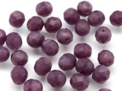 25pcs Fire-Polished Faceted Glass Beads Round 8mm Dark Purple