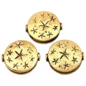 Fluted Star Beads Antique Gold Plated 18.5mm Approx 3