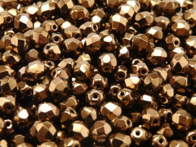 50pcs Czech Fire-Polished Faceted Glass Beads Round 6mm Jet Bronze Lustre