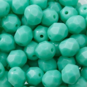 50pcs Czech Fire-Polished Faceted Glass Beads Round 6mm Turquoise Green