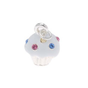 Silver Plated Cupcake With. Crystal Sprinkles Charm 17mm