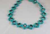 Howlite turquoise flower beads, 20x20mm, sold per 16inch strand.