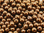 50 pcs Czech Glass Pressed Beads Druk Round 6 mm Jet Bronze Lustre