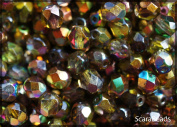 50pcs Czech Fire-Polished Faceted Glass Beads Round 6mm Magic Yellow-Brown