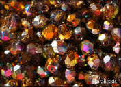 50pcs Czech Fire-Polished Faceted Glass Beads Round 6mm Magic Orange-Grey