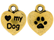 Pack of 5 TierraCast® Pewter Antique Gold Love My Dog Charms
