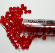 Red Transparent Miyuki 3.4mm Fringe Seed Bead Glass Tear Drops 25 Gramme Tube Approx 650 Beads