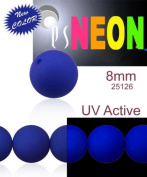 30 pcs Czech Glass Round Pressed Beads ESTRELA NEON (UV Active) Dark Blue 8 mm