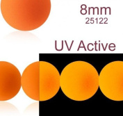 30 pcs Czech Glass Round Pressed Beads ESTRELA NEON (UV Active) Orange 8 mm