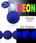24 pcs Czech Glass Round Pressed Beads ESTRELA NEON (UV Active) Dark Blue 10 mm